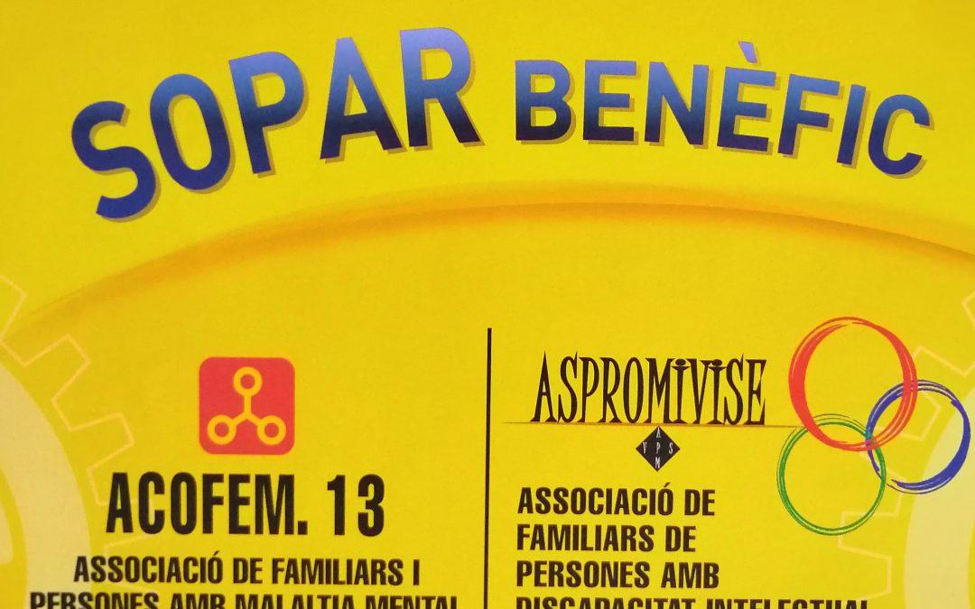 EL PROPER DISSABTE 22 DE JUNY EL ROTARY CLUB ORGANITZA UN SOPAR A BENEFICI D'ASPROMIVISE I ACOFEM